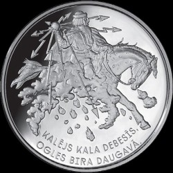 "Moneda > 5 euros, 2017 - Letonia  (Folk Songs - ""Smith Forges in the Sky"") - obverse"