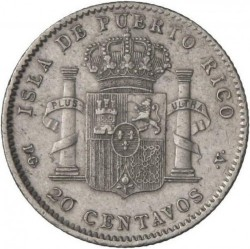 Монета > 20сентавос, 1895 - Пуерто Рико  - reverse