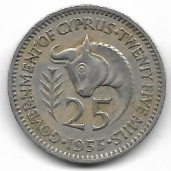 מטבע > 25מיל, 1955 - קפריסין  - obverse