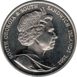 Кованица > 2 фунте, 2002 - Јужна Џорџија  (50th Anniversary - Accession of Queen Elizabeth II /portrait/) - obverse