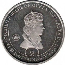 Кованица > 2 фунте, 2002 - Јужна Џорџија  (50th Anniversary - Accession of Queen Elizabeth II /portrait/) - reverse