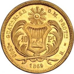 Монета > 10песо, 1869 - Гватемала  - reverse