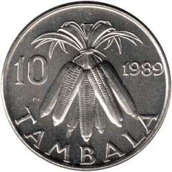 Coin > 10 tambala, 1989 - Malawi  (Nickel plated Steel /magnetic/) - reverse