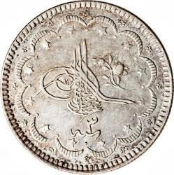 Munt > 10kurus, 1876 - Ottomaanse Rijk  (Old type: berries at the top right of Tugra) - obverse