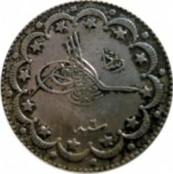 """Minca > 10kurus, 1909 - Osmanská ríša  (""""Reshat"""" right of Toughra) - obverse"""