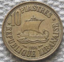Moneta > 10piastrów, 1955 - Liban  (Ship and tree on the center) - reverse