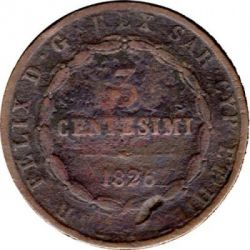 Moneta > 3centesimi, 1826 - Sardegna  - reverse