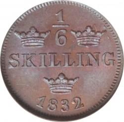 Монета > ⅙скилинг, 1832 - Швеция  (Smooth border, naked bust) - reverse