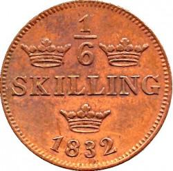 Монета > ⅙скилинг, 1832 - Швеция  (Dotted border) - reverse