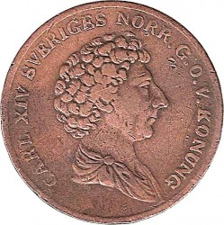 Munt > ⅙ skilling, 1832 - Zweden  (Smooth border, draped bust) - obverse