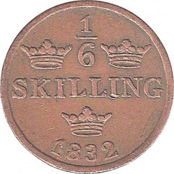 Munt > ⅙ skilling, 1832 - Zweden  (Smooth border, draped bust) - reverse