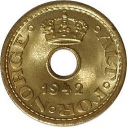 Moneda > 10öre, 1942 - Noruega  (Forat en el centre) - obverse