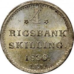 Кованица > 4ригсбанкскилинга, 1836 - Данска  - reverse