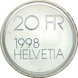 Moneta > 20franków, 1998 - Szwajcaria  (100 rocznica śmierci - Conrad Ferdinand Meyer) - obverse
