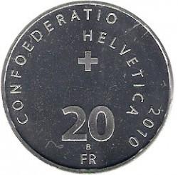 Moneta > 20franków, 2010 - Szwajcaria  (100 rocznica - Berneńska linia kolejowa) - obverse
