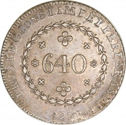 Coin > 640reis, 1824-1827 - Brazil  - reverse