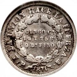 Münze > 5Centavos, 1871 - Bolivien  (CINCO CS/1G. Y 5CS/9 DS FINO) - reverse