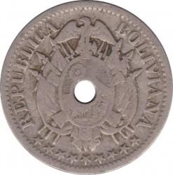 Moneda > 5centavos, 1883 - Bolivia  (Copper-Nickel; Hole at center) - obverse