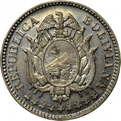 Mynt > 10centavos, 1883 - Bolivia  (Copper-Nickel; W/o hole at center) - obverse