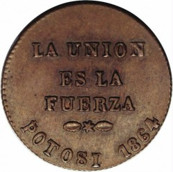 Mynt > 1centésimo, 1864 - Bolivia  - obverse