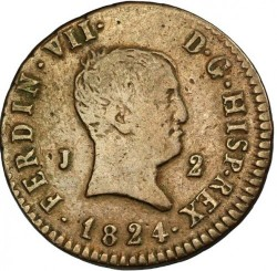 Münze > 2Maravedís, 1824-1827 - Spanien  - obverse