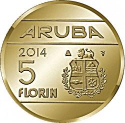 Монета > 5флоринов, 2014 - Аруба  (1 год правления Виллема-Александра) - reverse