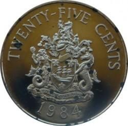 Moneta > 25centów, 1984 - Bermudy  (375 rocznica Bermudów - Herb miasta Hamilton) - reverse