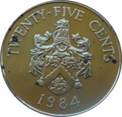 Moneta > 25centów, 1984 - Bermudy  (375 rocznica Bermudów - Herb Smith) - reverse