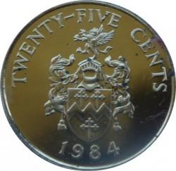 Moneta > 25centów, 1984 - Bermudy  (375 rocznica Bermudów - Herb Sandy) - reverse