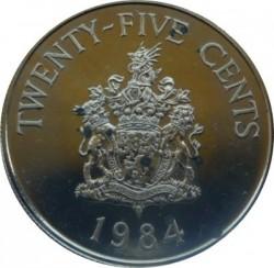 Moneta > 25centów, 1984 - Bermudy  (375 rocznica Bermudów - Herb Pembroke) - reverse