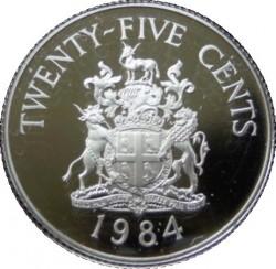 Moneta > 25centów, 1984 - Bermudy  (375 rocznica - Herb Southampton) - reverse