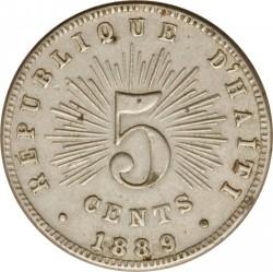 Moneda > 5centimes, 1889 - Haití  - obverse