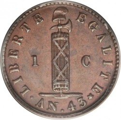 Монета > 1 сантим, 1846 - Хаити  (AN.43 with dot) - obverse