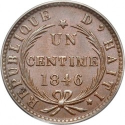 Монета > 1 сантим, 1846 - Хаити  (AN.43 with dot) - reverse