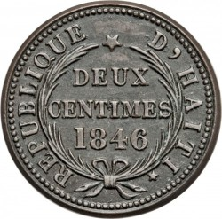 Coin > 2centimes, 1846 - Haiti  (AN.43 with a point) - reverse