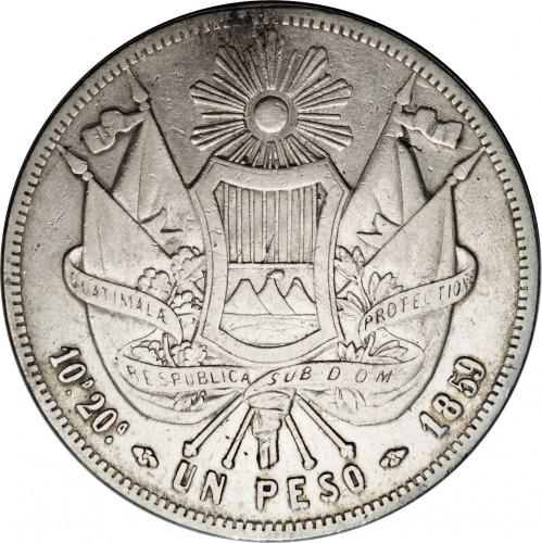 1 Peso 1859 Guatemala Coin Value Ucoin