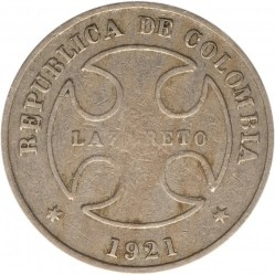 Coin > 50 centavos, 1921 - Colombia  - obverse