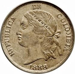 """Moneta > 5decimai, 1888 - Kolumbija  (Užrašas briaunoje: """"DIOS LEI LIBERTAD"""") - obverse"""