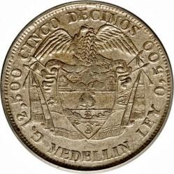 """Moneta > 5decimai, 1888 - Kolumbija  (Užrašas briaunoje: """"DIOS LEI LIBERTAD"""") - reverse"""