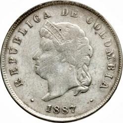 מטבע > 50סנטאבו, 1887 - קולומביה  - obverse