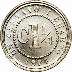 Coin > 1¼centavo, 1874 - Colombia  - reverse