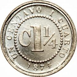 Monēta > 1¼sentavo, 1874 - Kolumbija  - reverse