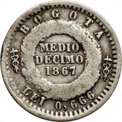 Coin > ½decimo, 1867 - Colombia  - reverse