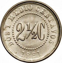 Monēta > 2½sentavo, 1881 - Kolumbija  (Diameter 14mm) - reverse