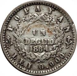 Monēta > 1decimo, 1863-1866 - Kolumbija  - reverse