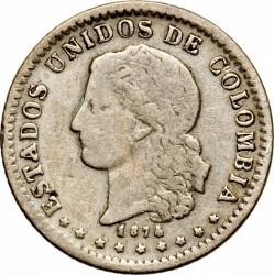 Monēta > 5sentavo, 1874 - Kolumbija  (Horns on reverse) - obverse