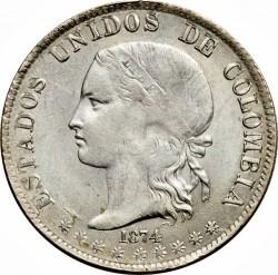 Coin > 2decimos, 1874 - Colombia  - obverse