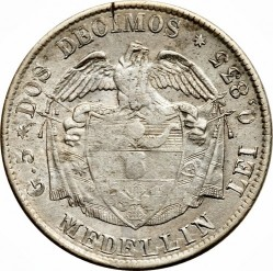 Coin > 2decimos, 1874 - Colombia  - reverse