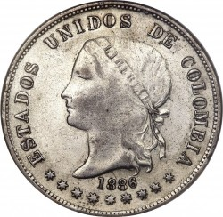 Coin > 50 centavos, 1885-1886 - Colombia  - obverse