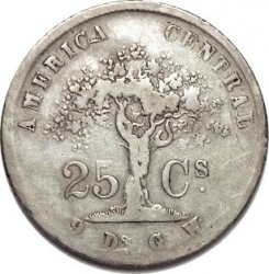 Moeda > 25centavos, 1864-1875 - Costa Rica  - reverse